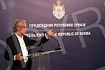 The President of the Republic of Serbia, Aleksandar Vucic, met with the prominent Austrian writer Peter Handke, winner of the Nobel Prize for Literature, in the building of the General Secretariat of the President of the Republic and presented him wi