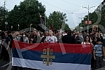 Participants in a rally in support of Bishop Ioaniki and the clergy of the Serbian Orthodox Church in Montenegro, entitled