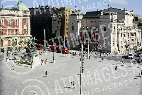 Renovated Republic Square in downtown Belgrade.
