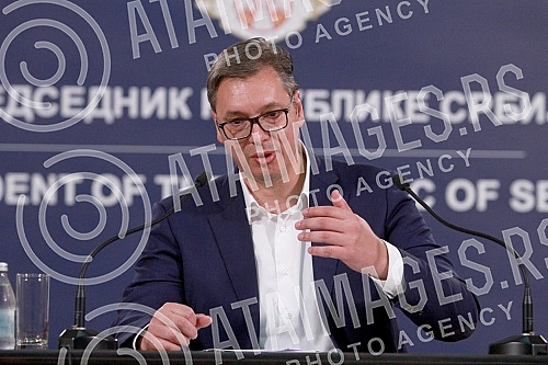 Press conference of  Aleksandar Vucic at the Presidency of Serbia regarding the incident at opposition protest